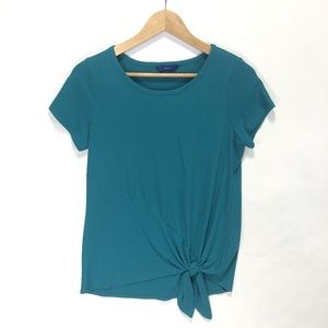 Short Sleeve Tie-Front Top SMALL Turquoise Blue